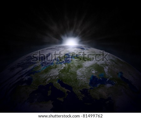 3D Illustration of Earth with Rising Sun (Hight Resolution 3D Image) - stock photo
