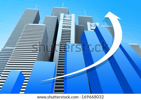 3D illustration of economical graph. - stock photo