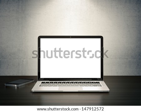 3D illustration of electronic devices on wooden desk - stock photo