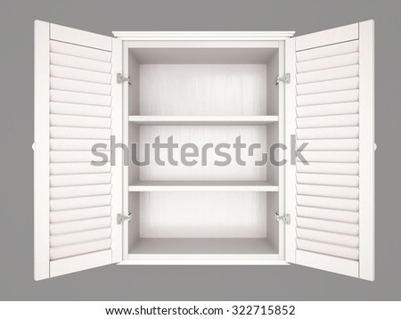 3d illustration of empty cupboard - stock photo