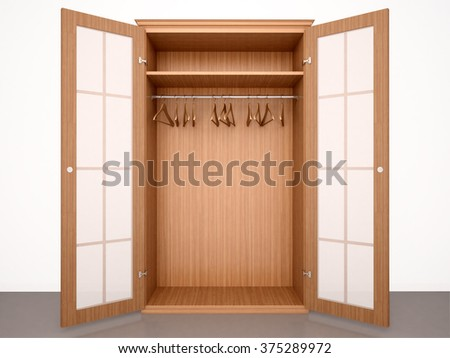 3d illustration of Empty open wooden wardrobe with hangers and transparent doors - stock photo