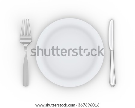 3d illustration of empty pate, fork and knife