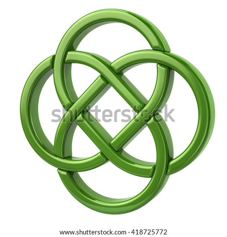 3d illustration of endless celtic knot isolated on white background - stock photo