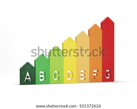 3d illustration of energy efficiency rating