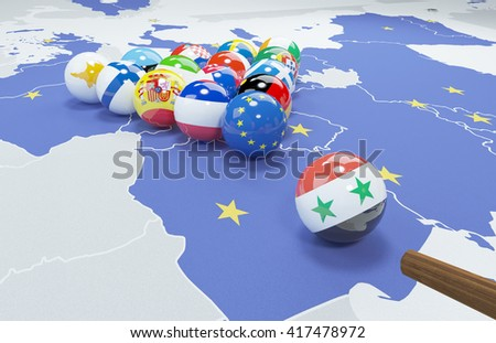3D illustration of EU and Syrian Arab Republic flags on the pool table  - stock photo