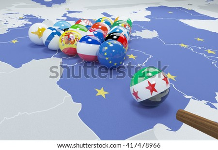 3D illustration of EU and syrian opposition flags on the pool table  - stock photo