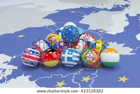 3d illustration of eu flags on eu map - billiard - stock photo