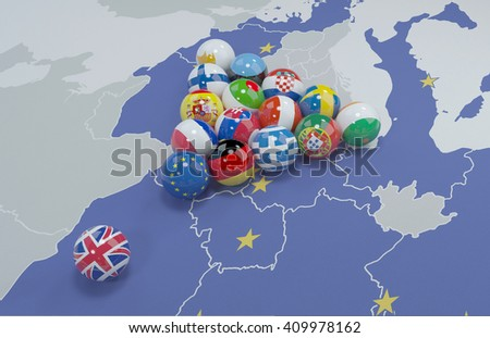 3D illustration of eu flags on the pool table 7 - stock photo