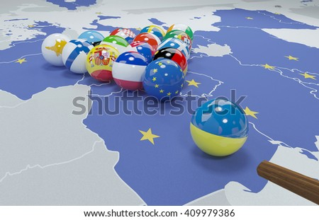3D illustration of eu flags on the pool table 9 - stock photo