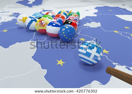 3D illustration of eu flags on the pool table - Grexit - stock photo