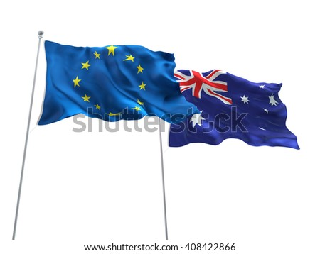 3D illustration of Europe Union & Australia Flags are waving on the isolated white background