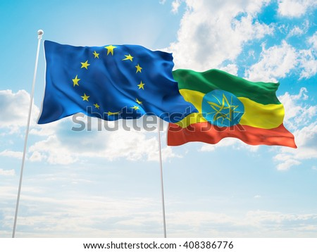 3D illustration of Europe Union & Ethiopia Flags are waving in the sky - stock photo