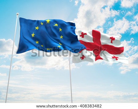 3D illustration of Europe Union & Georgia Flags are waving in the sky - stock photo