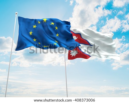 3D illustration of Europe Union & Nepal Flags are waving in the sky - stock photo