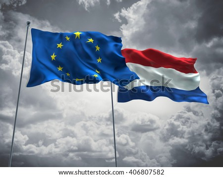 3D illustration of Europe Union & Netherlands Flags are waving in the sky with dark clouds