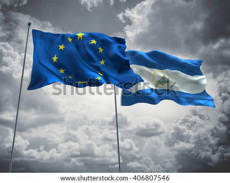 3D illustration of Europe Union & Nicaragua Flags are waving in the sky with dark clouds