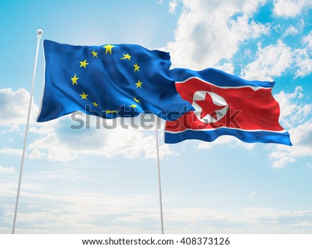 3D illustration of Europe Union & North Korea Flags are waving in the sky