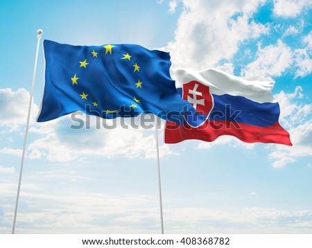 3D illustration of Europe Union & Slovak Republic Flags are waving in the sky