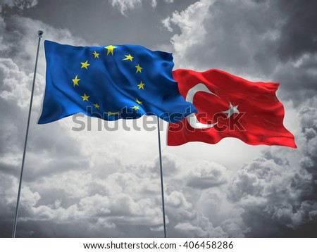 3D illustration of Europe Union & Turkey Flags are waving in the sky with dark clouds  - stock photo