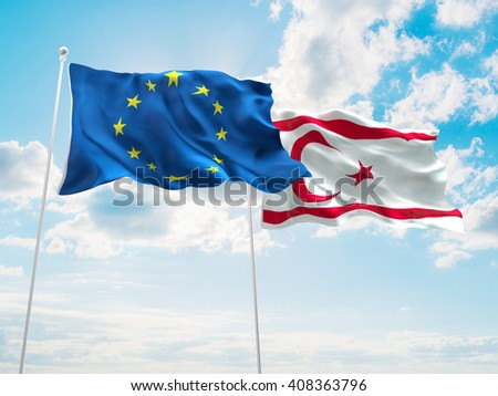 3D illustration of Europe Union & Turkish Republic of Northern Cyprus Flags are waving in the sky