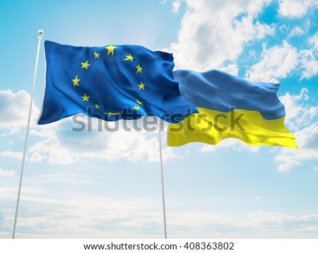 3D illustration of Europe Union & Ukraine Flags are waving in the sky - stock photo
