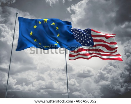 3D illustration of Europe Union & USA Flags are waving in the sky with dark clouds
