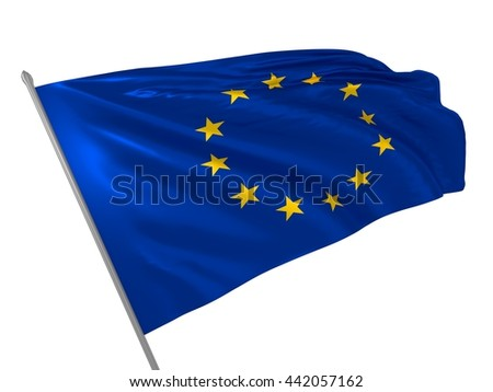 3d illustration of European Union flag waving in the wind