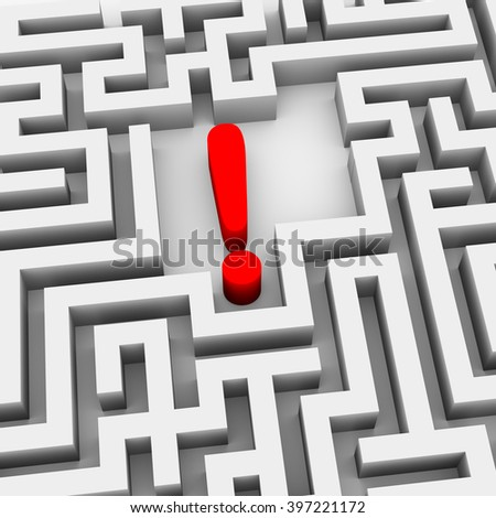 3d illustration of exclamation mark symbol sign in endless complicated endless maze - stock photo