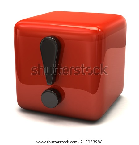 3d illustration of exclamation sign and orange cube - stock photo