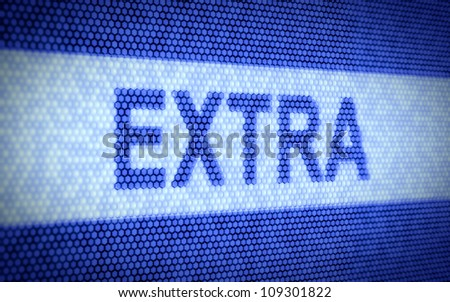 3d illustration of Extra text on computer screen