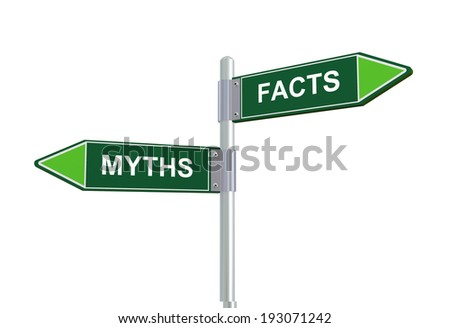 3d illustration of facts and myths directional signpost road sign. - stock photo
