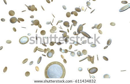 3d illustration of falling euro coins isolated on white background