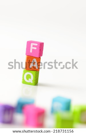 3d illustration of FAQ sign using colorful cubes - stock photo