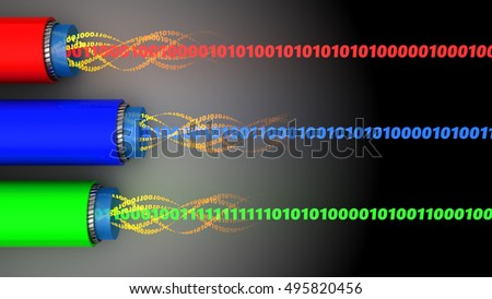3d illustration of fiber optics cables and binary data inside