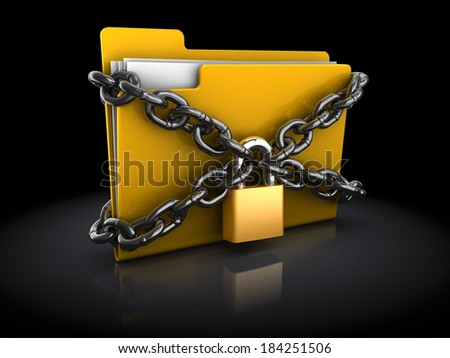 3d illustration of files folder with lock and chain, over black background - stock photo