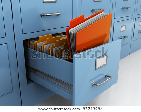 3d illustration of find folder in archive drawer - stock photo