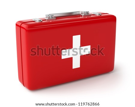 3d illustration of first aid kit. Isolated on white background - stock photo