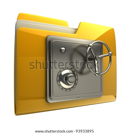 3d illustration of folder icon with security lock dial isolated on white background High resolution 3D - stock photo