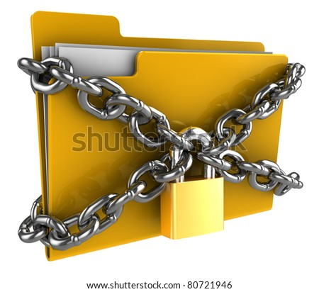 3d illustration of folder locked by chains isolated over white