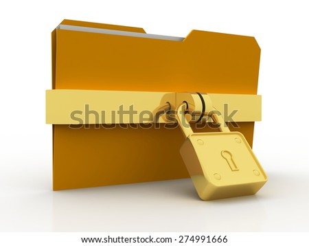 3d illustration of folder locked with chains
