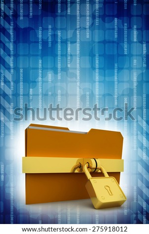 3d illustration of folder locked with chains - stock photo