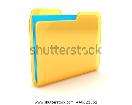 3d illustration of folder with blue paper
