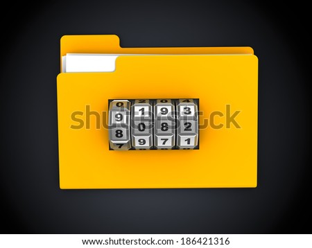 3d illustration of folder with code lock dial, over black background - stock photo