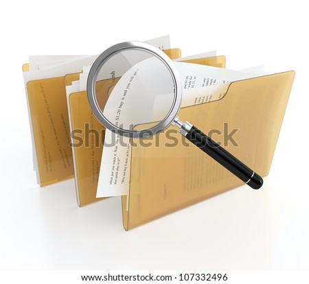 3D illustration of folder with files and magnifying glass. Files search - stock photo