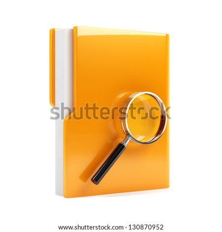3d illustration of folder with magnifying glass. Isolated on white background - stock photo