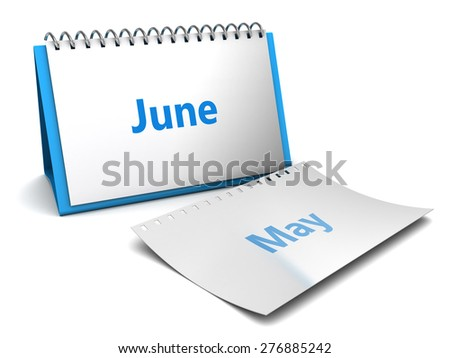 3d illustration of folding calendar with june month page - stock photo