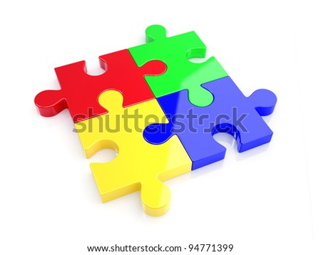 3d illustration of four color puzzle concept. Isolated on whote background