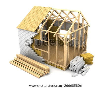 3d illustration of frame house construction, over white background - stock photo