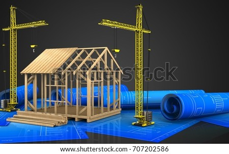 3d illustration of frame house construction with crane over black background