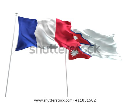 3D illustration of France & Nepal Flags are waving on the isolated white background - stock photo